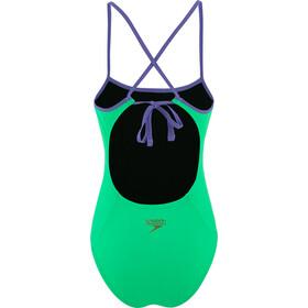 speedo Solid Tie-Back One Piece Badpak Dames, green glow/ultra violet